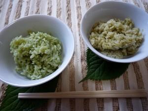 緑茶ペーストを混ぜたご飯(左)と粉末茶を混ぜたご飯(右)